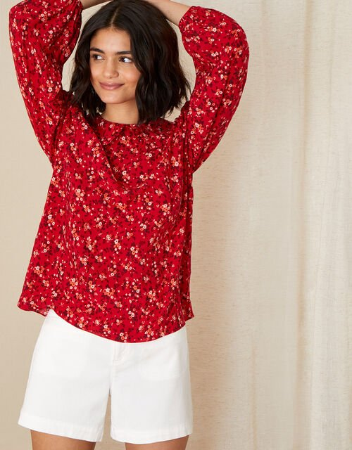 Frill Collar Ditsy Floral Blouse, Red (RED), large