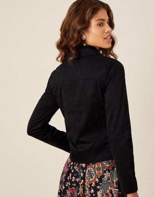 Stacey Suedette Biker Jacket, Black (BLACK), large