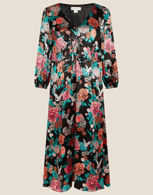 Kasenya Oriental Floral Dress, Black (BLACK), large