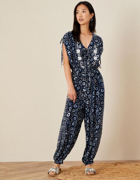 Batik Print Jumpsuit Blue, Blue (NAVY), large