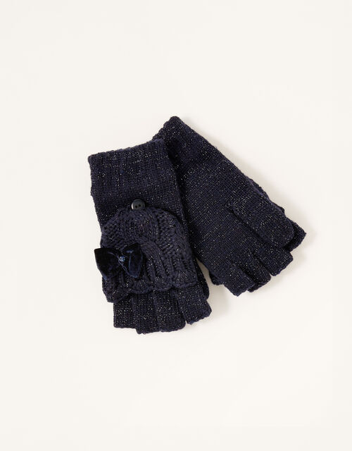 Nancy Sparkle Capped Gloves, Blue (NAVY), large