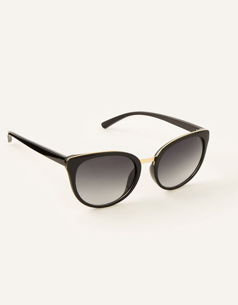 Perla Preppy Sunglasses Black, Black (BLACK), large