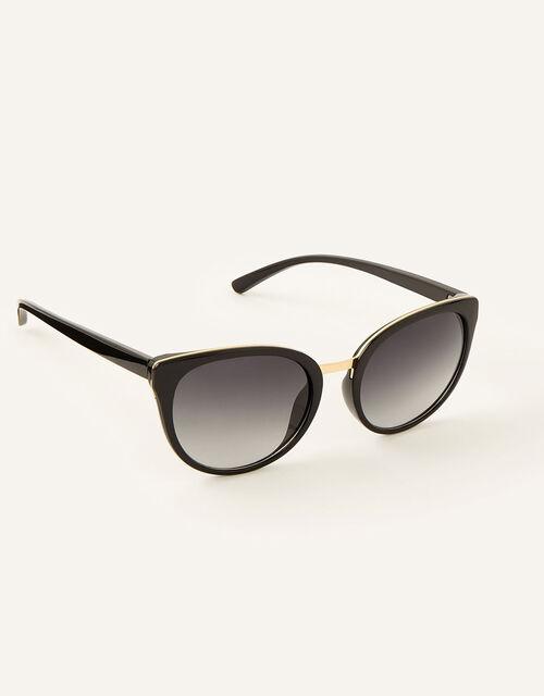 Perla Preppy Sunglasses, Black (BLACK), large