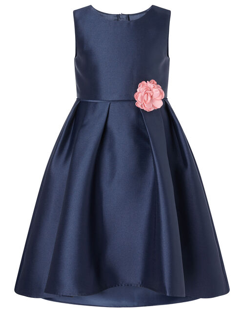 Corsage Belt Hi-Low Dress, Blue (NAVY), large
