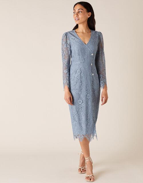 Lettie Lace Mini Dress, Blue (BLUE), large