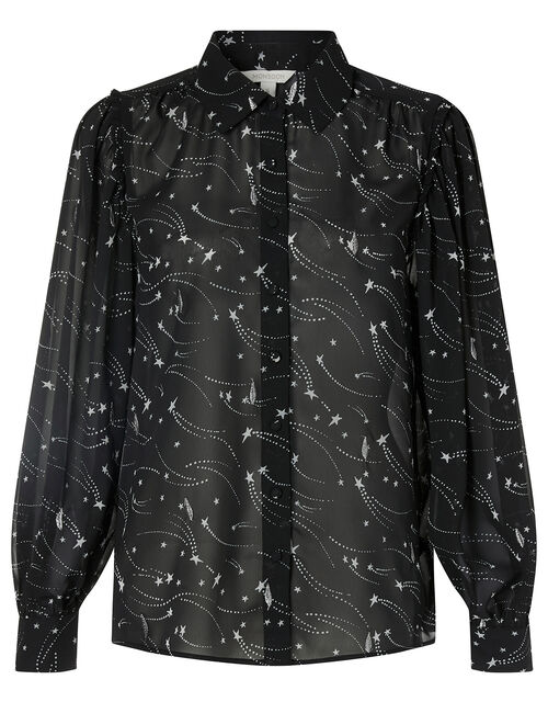 Star Print Embroidered Blouse, Black (BLACK), large