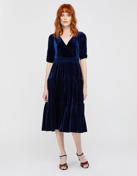 Stevie Smock Velvet Midi Dress Blue, Blue (NAVY), large