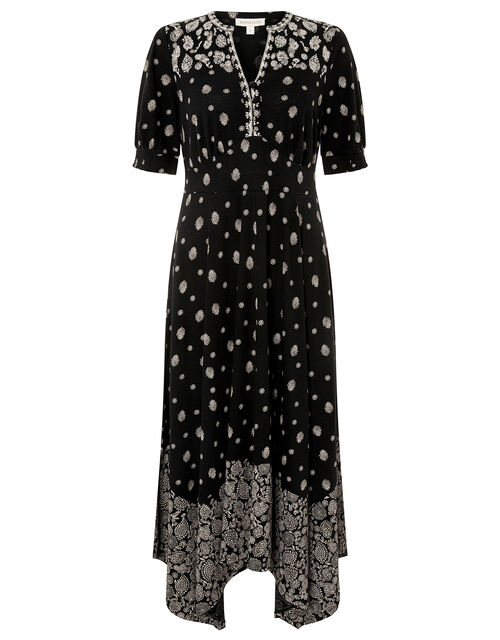 Alianna Heritage Print Hanky Hem Dress, Black (BLACK), large