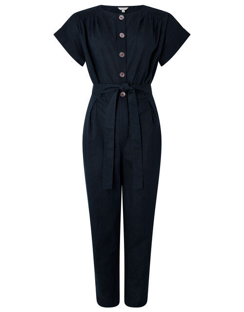Vanessa Jumpsuit in Linen and Organic Cotton, Blue (NAVY), large