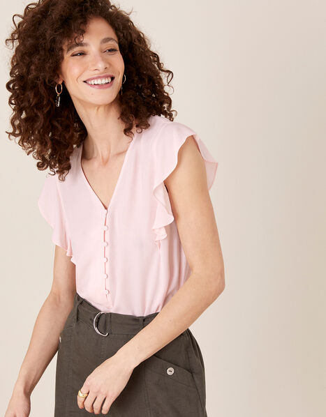 Ruffle Short Sleeve Blouse Pink, Pink (BLUSH), large