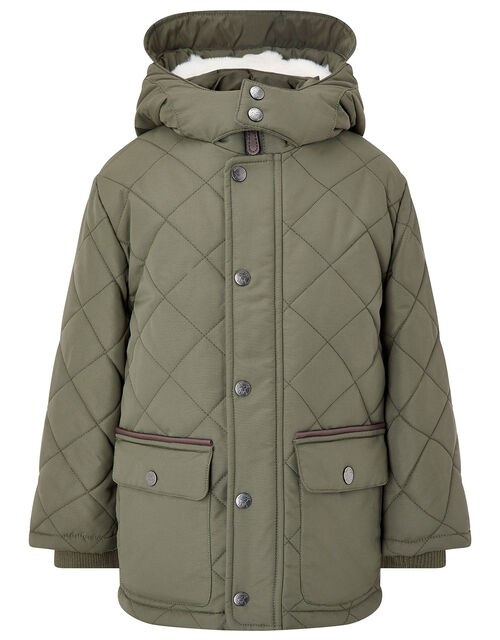 Quilted Coat with Hood, Green (KHAKI), large
