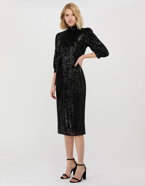 Kalila All-Over Sequin Midi Dress Black, Black (BLACK), large