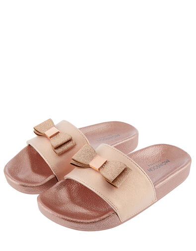 Glitter Bow Rose Gold Sliders Gold, Gold (ROSE GOLD), large