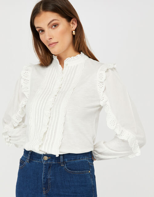 Laney Jersey Blouse with Broderie Trims, Ivory (IVORY), large