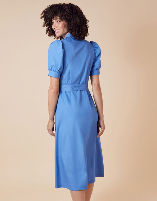 Plain Shirt Midi Dress, Blue (BLUE), large