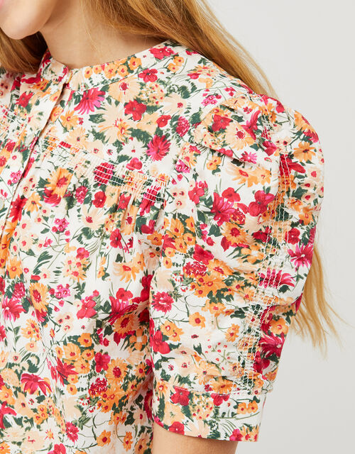Julissa Floral Blouse in Organic Cotton, Ivory (IVORY), large