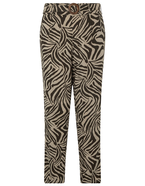 Zadie Zebra Print Trousers           , Brown, large