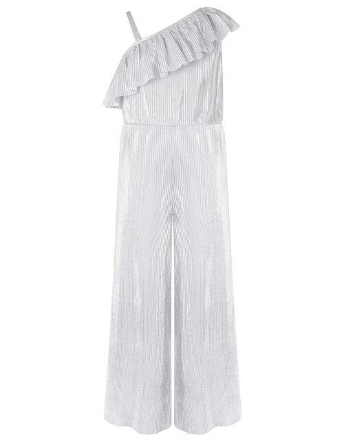 Cassandra One Shoulder Metallic Plisse Jumpsuit, Silver (SILVER), large