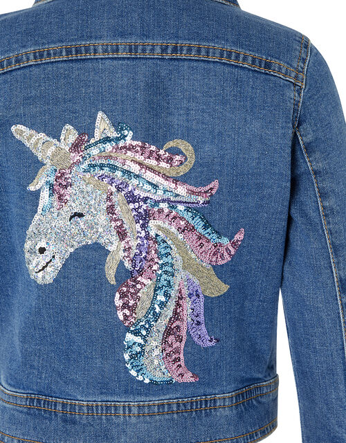 Elouise Sequin Unicorn Denim Jacket, Blue (BLUE), large