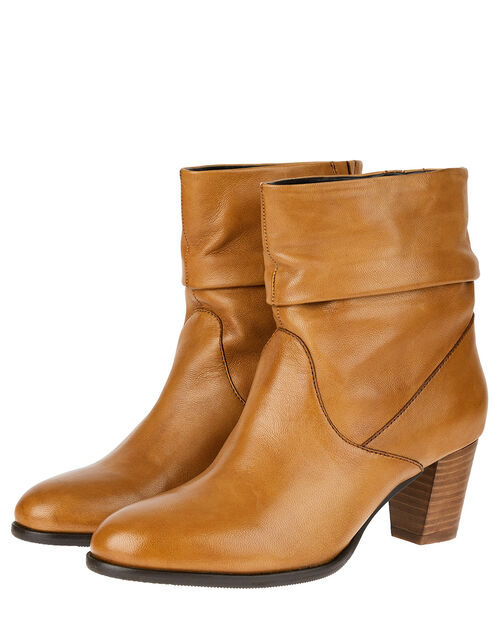Slouch Leather Ankle Boots, Tan (TAN), large
