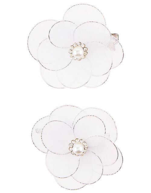 Pearly Lace Wire Flower Hair Clips, , large