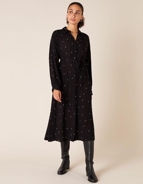 Embroidered Spot Midi Shirt Dress, Black (BLACK), large
