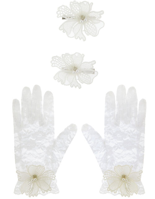 Lace Butterfly Glove and Hair Clip Set, , large