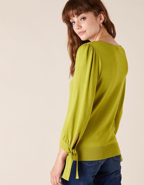 Tie Cuff Knit Jumper with LENZING™ ECOVERO™, Green (BRIGHT GREEN), large