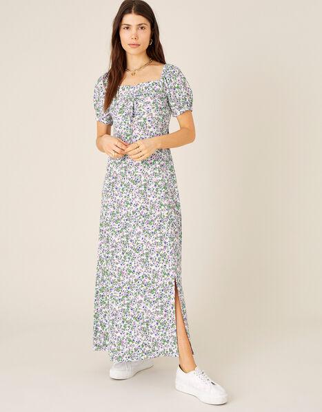 Ditsy Sweetheart Dress with Sustainable Viscose  Ivory, Ivory (IVORY), large