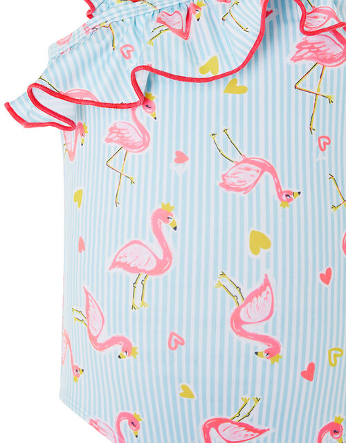 Baby Flamingo One-Shoulder Swimsuit, Blue (BLUE), large