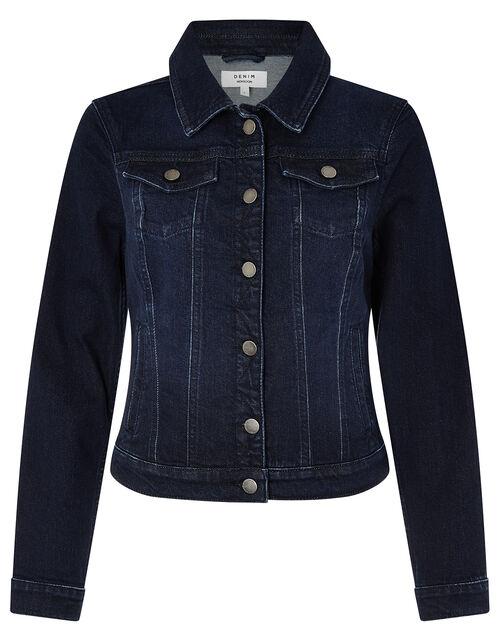 Dark Wash Denim Jacket, Blue (INDIGO), large