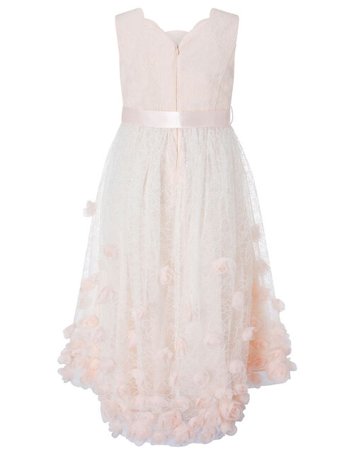 Emily Lace High-Low Dress with 3D Flowers, Orange (PEACH), large