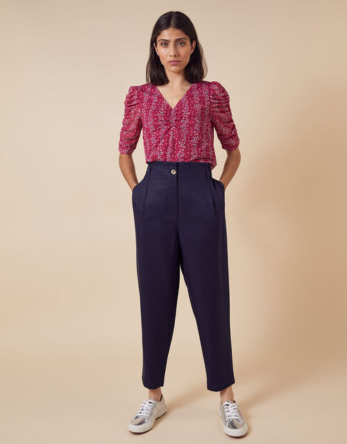 Tapered Cropped Trousers in LENZING™ TENCEL™, Blue (NAVY), large