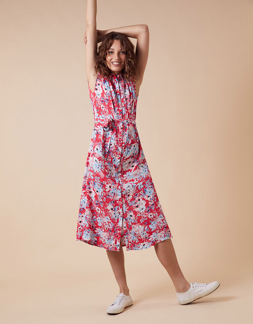Floral Print Shirt Dress with LENZING™ ECOVERO™, Red (RED), large