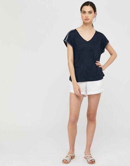 Liza Metallic Stitching T-shirt in Pure Linen, Blue (NAVY), large