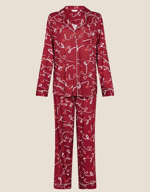 Love Print Jersey Pyjama Set, Red (RED), large