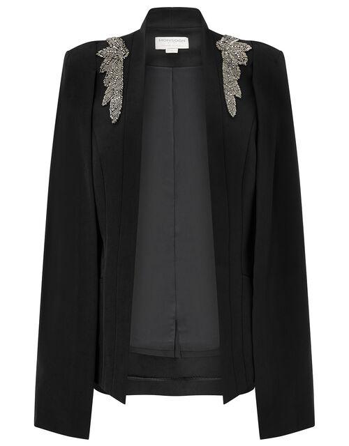 Constantina Beaded Brooch Cape Jacket, Black (BLACK), large