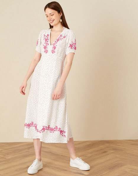 Embroidered Spot Button Midi Dress  Ivory, Ivory (IVORY), large