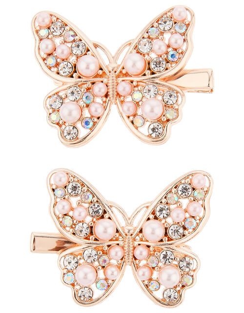 Venita Pearly Butterfly Hair Clips, , large