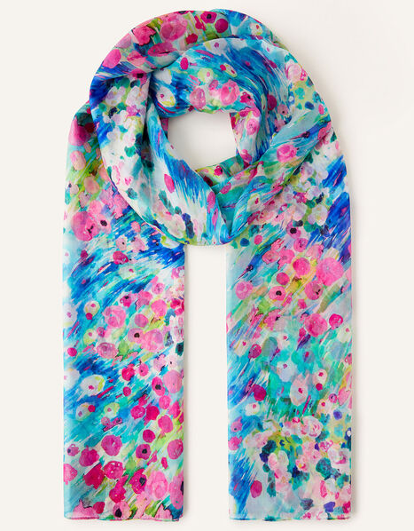 Floral Scarf in Pure Silk, , large