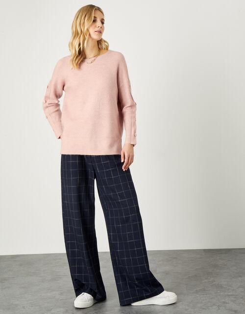 Honeycomb Stitch Button Sleeve Jumper, Pink (SOFT PINK), large