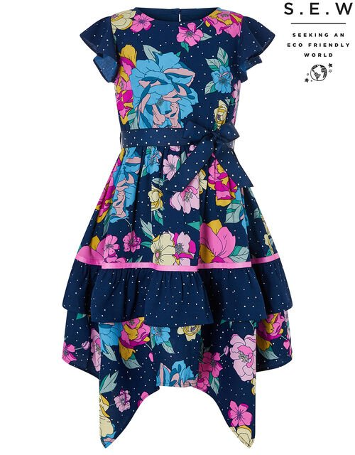 Brea Floral Spot Hanky Hem Dress in Recyled Fabrics, Blue (NAVY), large
