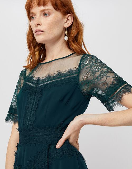Melissa Lace Chevron Hanky Hem Dress, Teal, large