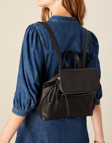 Zara Multi-Zip Leather Backpack, , large