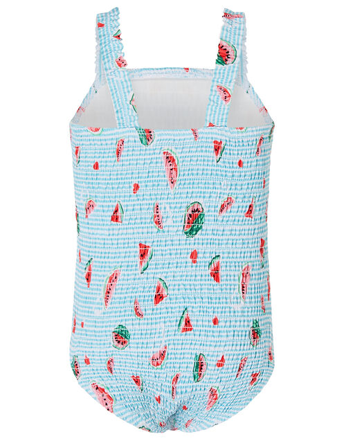 Baby Watermelon Shirred Swimsuit, Blue (BLUE), large