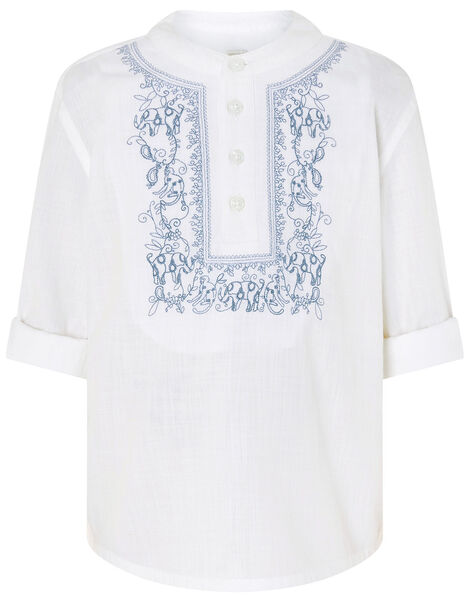 Kurta Embroidered Shirt in Pure Cotton Blue, Blue (BLUE), large