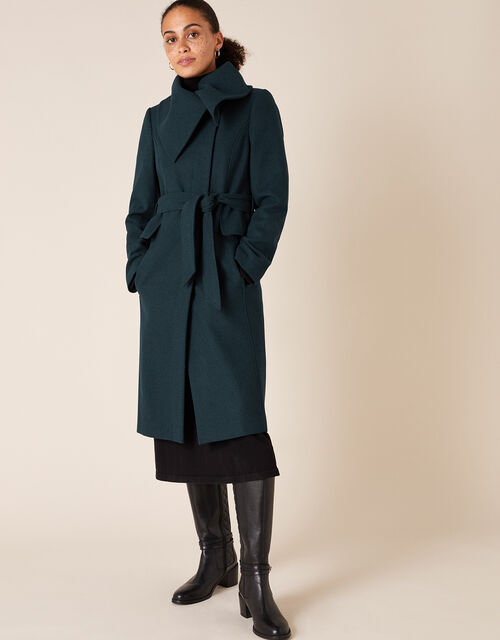 Keryn Wrap Collar Belted Coat, Teal (TEAL), large