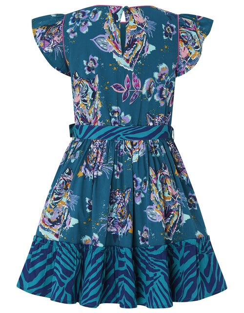 Blaire Jungle Printed Dress in Recycled Polyester, Teal (TEAL), large