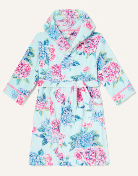Elle Floral Chunky Robe Blue, Blue (AQUA), large