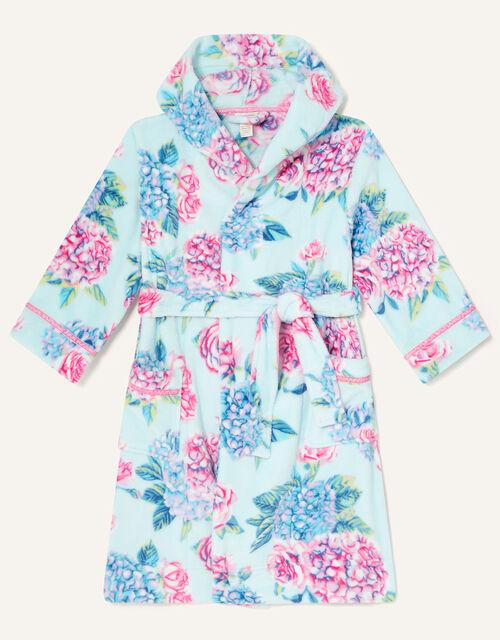 Elle Floral Chunky Robe, Blue (AQUA), large